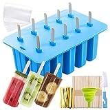 MojiDecor Silikon Eisformen, 10 Popsicle Formen Set, EIS am Stiel Formen mit 50 Einweg-Tasche, 50...