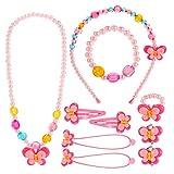 Hifot Kinderschmuck Kleine Mädchen Halskette Armband Ring Clip-on Ohrringe Haar Klammern Einstellen...