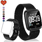 Polywell Fitness Armbanduhr mit Herzfrequenz, Fitness Tracker, Bluetooth Sportuhr Aktivitätstracker...