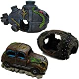 OrgMemory Ornamente für Aquarien, Fisch Tank Dekoration, 3 Stück, Aquarium Höhle