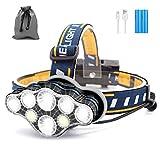 SYOSIN Stirnlampe, 8 LED 18000 Lumen Kopflampe, Superheller USB Wiederaufladbare Wasserdicht...