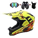WRISCG Erwachsene Motorrad Offroad Helm mit Schutzbrille Handschuhe Maske Helm Cross Helm Motocross...