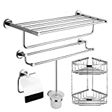 LXJ duschregal Bad Messing Handtuchhalter, Bad Hardware-Anhänger-Set, WC-Anhänger-Rack....