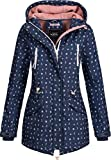 Sublevel Damen Softshell-Jacke Kurzmantel LSL-367 Anker-Alloverprint Indigo Blue-White L