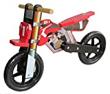 Dunjo® Holz Motorrad Laufrad Cross Pro Rot | Ab 2 Jahren | Für Jungen Und Mädchen |