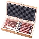 FlyingColors Laguiole Steakmesser-Set, Edelstahl, Griff aus Rosenholz, Geschenk-Box, 6Stück