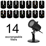 LLZI LED Projektionslampe, 14 Folien Effektlicht Wasserdichte Projektor Led, Gartenleuchte, Mauer,...