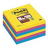 Post-it 675-S6R Haftnotiz Super Sticky Notes, 101 x 101 mm, liniert, 6 Blöcke a 90 Blatt, Rio de...