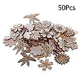 HavanaYZ_50 Stück Holz Blumen und Blätter Verzierung Holz Form Basteln Hochzeit Decor