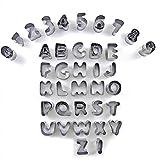 Ausstechformen-Set Alphabet und Zahlen, 37 Stück, Edelstahl, kleine Formen für Fondant, Kekse,...