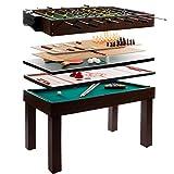 Anaterra Multigame Spieletisch 9 in 1, Kickertisch Tischfußball, Billardtisch, Tischtennis, Schach,...