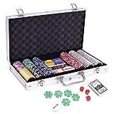 DHOUTDOORS Playing Cards Pokerkoffer Pokerset mit 300 Standard Pokerchips Poker Chips im Alu Koffer