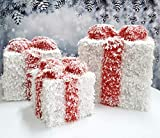 Set mit 3 Weihnachts-LED-Geschenkboxen, Geschenkbox mit weißem Schnee und Schleifen für...