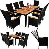 Casaria Poly Rattan Sitzgruppe 8+1 Schwarz 7cm Dicke Auflagen Tisch & Armlehnen aus Holz Neigbare...