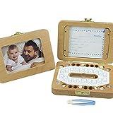 Decdeal Baby Milchzähne Box Holz Zahndose Milchzahndose mit Verschiedenen Zubehörteilen für...