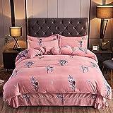 Teddy Fleece Fleece Bettbezug,Verdickte vierteilige Flanell warme Winter Einzelbett Einzel...