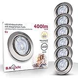 B.K.Licht I 6er Set LED Einbauleuchte I Dimmbar I Schwenkbar I Inkl. 5,5W GU10 I Leuchtmittel I...