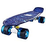 Mini Cruiser Skateboard Retro Komplettboard, 56cm Vintage Skate Board mit Kunststoff Deck und...