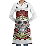 Apron Day Dead Skull Roses Label White Chefs Kitchen Apron Work Bbq Gardening Home With Pockets