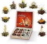 Creano Teeblumen Geschenkset in Teekiste aus Holz 12 Erblühtee in 9 Sorten Weißtee & Schwarztee