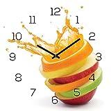 Wanduhr Glas 30x30cm Uhr Glasbild Orange Apfel Wasser Frucht Kche Wanddeko Kchenuhr Glasdeko