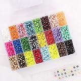 Vaessen Creative Bügelperlen-Set, Transparente Aufbewahrungsbox mit 5000 Steckperlen in 24 Farben,...