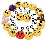 Zindoo Kindergeburtstag 16 Emoji Schlüsselanhänger Plüsch Tasche Anhänger 6cm Plüsch Kissen...