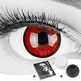 Farbige rote Crazy Fun Kontaktlinsen 'Red Flower' ohne Stärke mit gratis Linsenbehälter -...