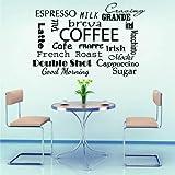 Wandtattoo/Wandaufkleber für Kaffee/Espresso/Milch, Vinyl