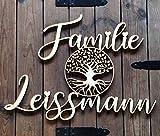 Personalisiertes Familienschild | Familiennamen mit Lebensbaum | ausgelasert aus Holz |...