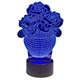 KangYD 3D Rose Blumenvase Nachtlicht, LED Tisch Schreibtischlampe, Acryl, Wohnkultur, Liebhaber...