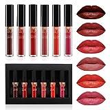 Lipgloss Set, Luckyfine 6 Farben Lipgloss Matte Lippenstift, Liquid Lipstick wasserdichte und...