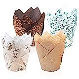 feihao muffinförmchen Papier,200 Stück Papierförmchen in Tulpenform,Backförmchen Zeitung...