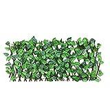 Holzgitter ausziehbar Hecke mit Blättern Zaun Pflanzen Hecke Efeuhecke Sichtschutz Blätterzaun...