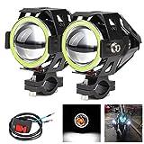 2x Motorrad Scheinwerfer mit Angel Eyes Lichter CREE U7 DRL Nebelscheinwerfer für Autos Fahrrad...
