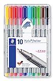 Staedtler triplus 334 SB10 Fineliner Set mit 10 brillanten Farben, hohe Qualität, superfeine,...