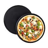 Relaxdays Pizzablech, 2er Set, rund, antihaftbeschichtet, Pizza & Flammkuchen, Carbonstahl,...