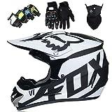 Motorradhelm Kinder Motocross Helm Set mit Brille Handschuhe Fahrradhelm Unisex Fullface Cross Helm...