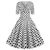 jieGorge  Damen Kleid AusverkaufVerkauf !!! Faltenrock Knielang Kleider Mode Frauen V-Ausschnitt Dot...