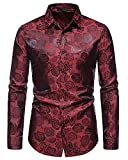 MakingDa Herren Mode Rose Print Kleid Hemd Langarm Knopfleiste Slim Fit Casual Business Blumenmuster...