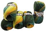5 x 100 g Alize Strickwolle 40% Woll-Anteil, Mehrfarbig mit Farbverlauf, 500 Gramm Wolle (grün...