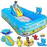 Pools Schwimmbecken Aufblasbarer Boden mit Rutsche und Schießereirahmen für Kinder Erwachsene...