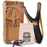 AGREATLIFE Steinschleuder Kinder aus Holz mit Entdecker-Pfeife Plus Munitions-Tasche- Extra...