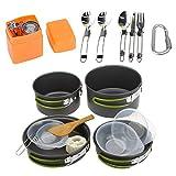 Camping Töpfe Portable Camping Pot und Pan Aluminium Wandern Outdoor Kochgeschirr Chef Set 2-3...