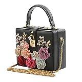 ZoSiP Damen Abend Clutch-Bag Gesperrt Kleine Box-Tasche mit Diamant-Blumen Tragbare kleine...