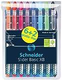 SCHNEIDER Kugelschreiber Slider Basic XB, 8-teilig, Angebot 6+2