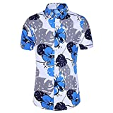 Anglewolf Herren Hemd Standard-fit Short-Sleeve Hawaiian Shirt Funky Hawaiihemd Kurzarm Fronttasche...