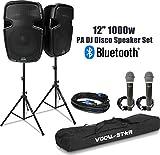 Vocal-Star Aktiv-PA-Lautsprechersystem 30,5 cm (12 Zoll) 1000 W mit Bluetooth-MP3-Eingang inkl....