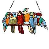 OUHUI Frühlingsvögel Sorte Glasmalerei Fensterscheibe, 6 Vögel in Glasmalerei Fensterscheibe, Art...