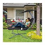 RANSENERS® Sonnenliege Gartenliege Relaxliege mit Verstellbarer Sonnenschirm und...